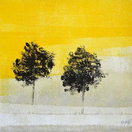 Odile Escolier Deux arbres dans le jaune 25 x 25 cm