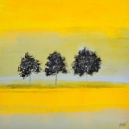 Odile Escolier Trois arbres dans une lumière safranée 36 x 36 cm