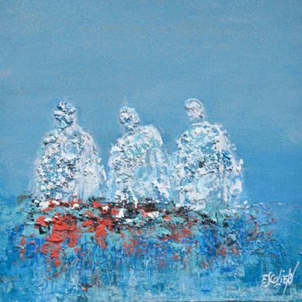 Odile Escolier Trio sur fond bleu 13 x 13 cm