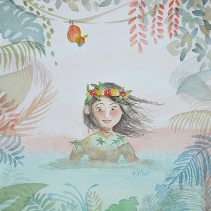 Marjoline Fleur L'hawaïenne et le perroquet 25 x 25 cm