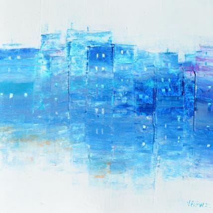 Véronique Fièvre Petit village en bleu 19 x 19 cm