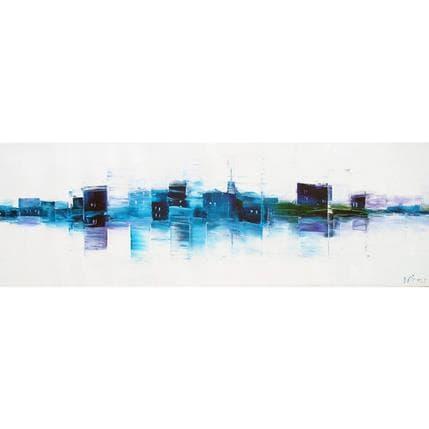 Véronique Fièvre Composition linéaire en bleus 120 x 40 cm
