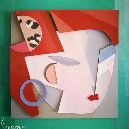 Karl Gustavsen Cubist woman 19 x 19 cm