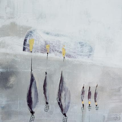 Lau Blou Peupliers dans la brume 36 x 36 cm