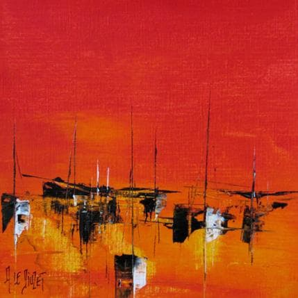Albert Le Diuzet Composition marine rouge 53 19 x 19 cm