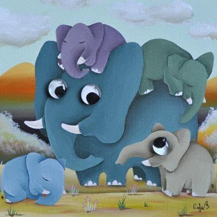 Raphaële Lennoz Elephants 25 x 25 cm