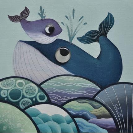 Raphaële Lennoz Les baleines bleues 25 x 25 cm