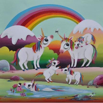 Raphaële Lennoz Unicorns land 36 x 36 cm