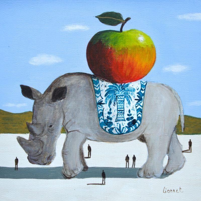 Rhinocéros et pomme