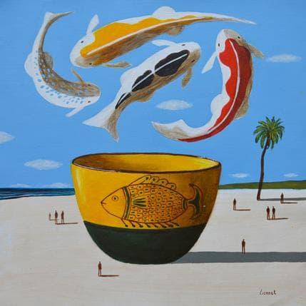 Pascal Lionnet Céramique jaune et verte 36 x 36 cm