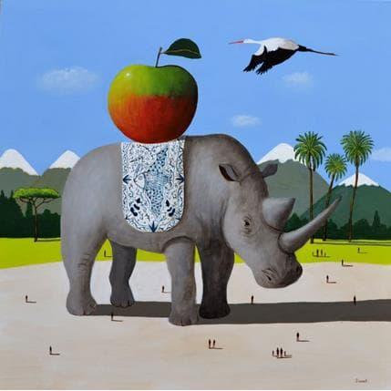 Pascal Lionnet Rhinocéros 80 x 80 cm