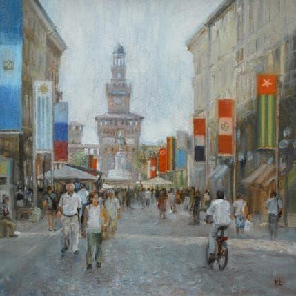 Katie Lokotska Central street of Milan 25 x 25 cm