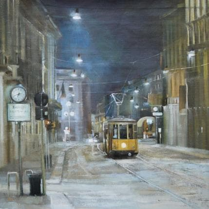 Katie Lokotska Night tram 36 x 36 cm