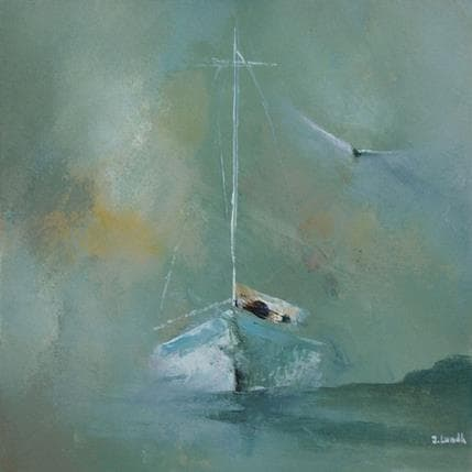 Jonas Lundh Boat and bird 19 x 19 cm