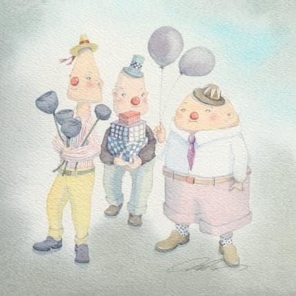 Masako Masukawa 3 clowns 19 x 19 cm