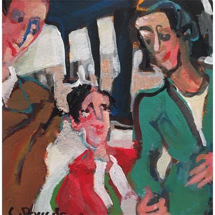 Christine Doucedame Famille à la gare 13 x 13 cm