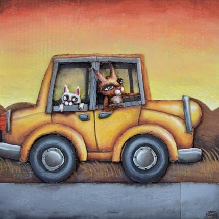 Cathy Mouis Deux Chats dans une voiture 36 x 36 cm