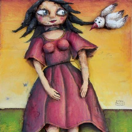 Cathy Mouis La dame à l´oiseau 19 x 19 cm