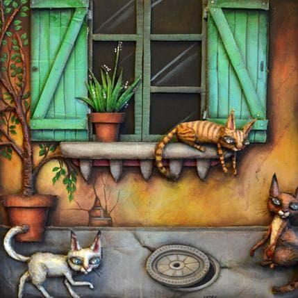 Cathy Mouis Chats 50 x 50 cm