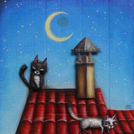 Cathy Mouis Deux chats sur un toit 36 x 36 cm