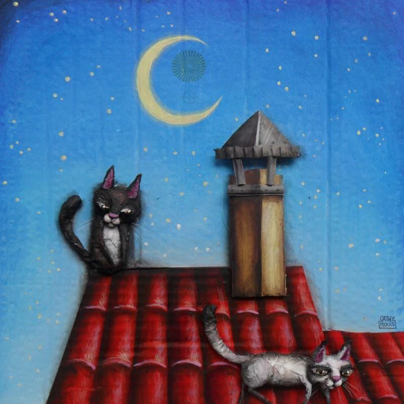 Deux chats sur un toit