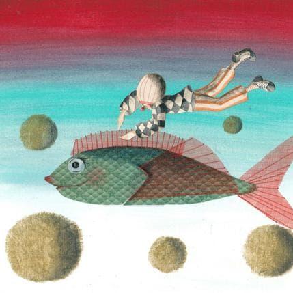Nai S'enfuir sur un poisson 25 x 25 cm