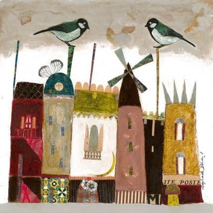 Raphaëlle Penaud Des cheminées et des oiseaux 25 x 25 cm