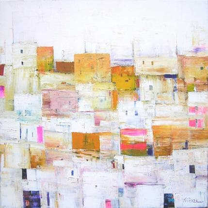 Véronique Fièvre Village en jaune et rose 80 x 80 cm