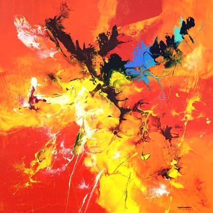 Thierry Zdzieblo Orange et rouge 100 x 100 cm
