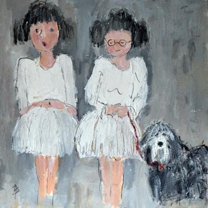 Françoise Soizeau Juliette ,Lise et le chien Hector 36 x 36 cm