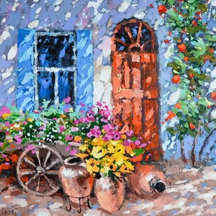 Dmitry Spiros Cart with flowers 36 x 36 cm