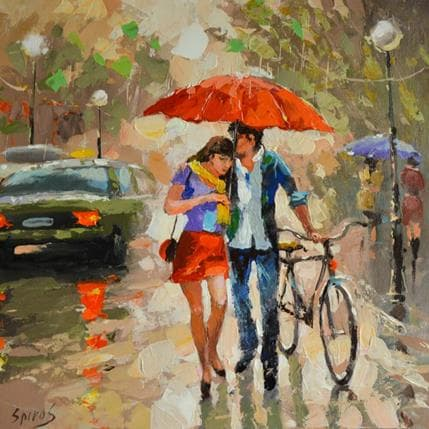Dmitry Spiros Walking in the rain 36 x 36 cm