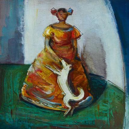 Vasily Tryndyk Girl with dog 19 x 19 cm