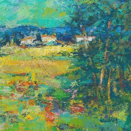 Catherine Vaudron Les pins dans le ciel vert 19 x 19 cm
