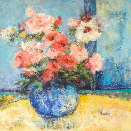 Catherine Vaudron Bouquet au vase bleu 50 x 50 cm