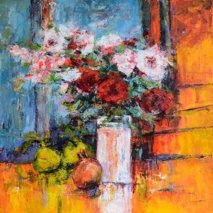 Catherine Vaudron Roses et coings du jardin de Vasili 80 x 80 cm