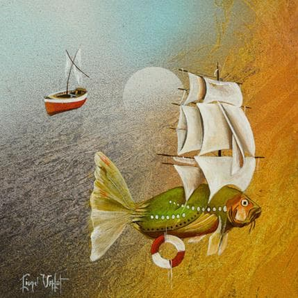 Lionel Valot Poisson volant 25 x 25 cm