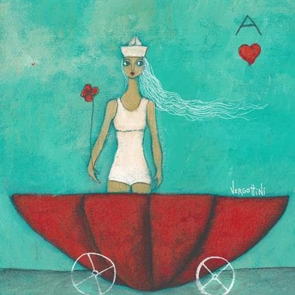 Paola Vergottini Viaje con flor 25 x 25 cm