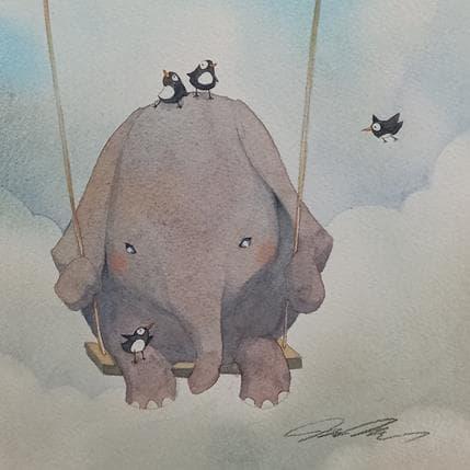 Masako Masukawa Elephant and birds 19 x 19 cm
