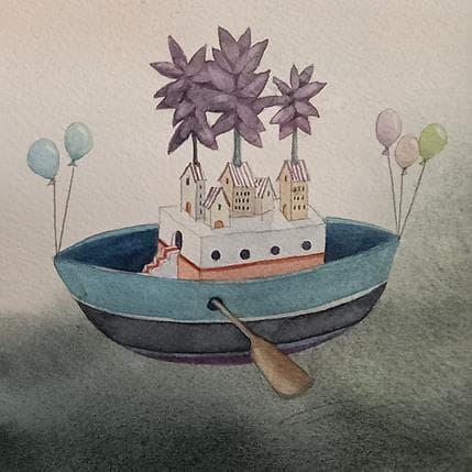 Masako Masukawa Blue boat 13 x 13 cm