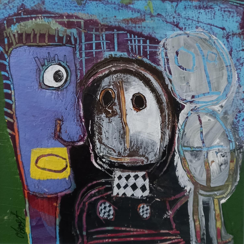 Peintures Art Singulier Technique Mixteparler Fort Par C Bost Carre D Artistes