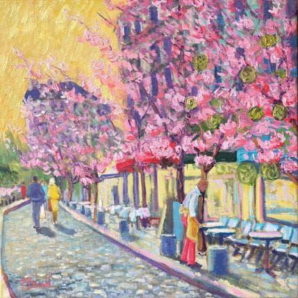 P.Bonart Paris, cerisiers en fleurs 50 x 50 cm