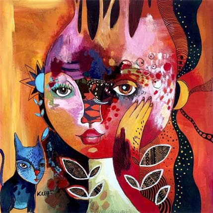 Laure Ketfa Le chant de la lune 36 x 36 cm