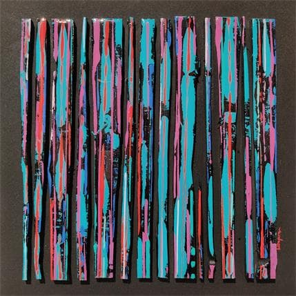 Luc Langeron BC14 impression turquoise mauve 36 x 36 cm