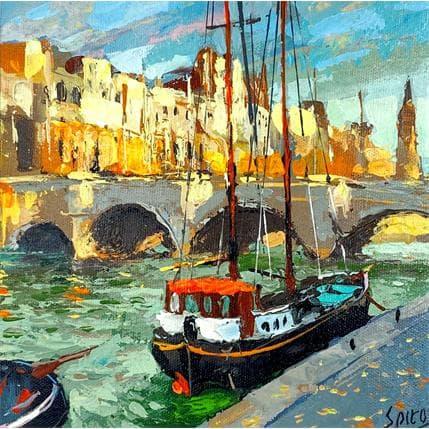 Dmitry Spiros Walking by the Seine 19 x 19 cm
