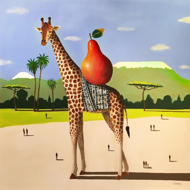 Girafe et poire rouge