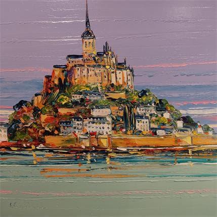 Corbière Liisa Le jour se lève sur le Mont Saint Michel 36 x 36 cm