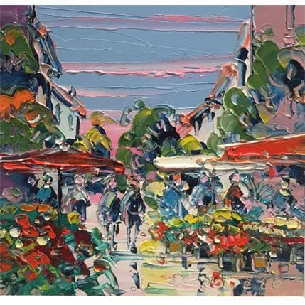 Liisa Corbière Matin au marché 13 x 13 cm