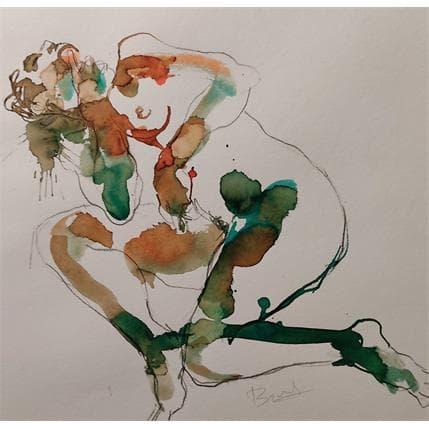 Sebastien Brunel lydie couchée une main au menton 36 x 36 cm