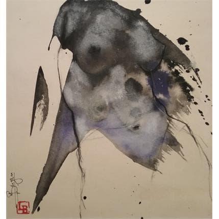 Laurent Bergues Sculpture sur tâche  Femme nuances bleues 25 x 25 cm